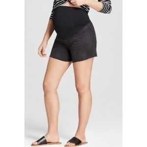 Isabel Maternity   Midi Black Stretch Jean Shorts